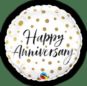Happy Anniversary Gold Dots Balloon