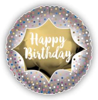 Happy Birthday Satin Gold Burst