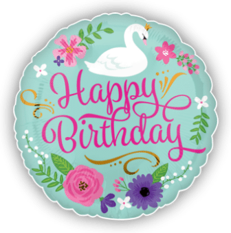 Happy Birthday Floral Swan