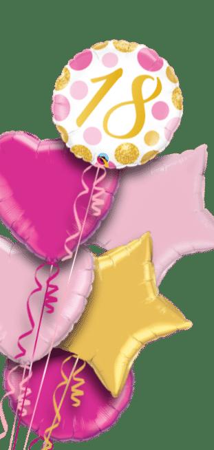 18 Pink and Gold Dots Balloon
