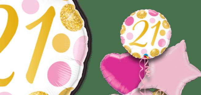21 Pink and Gold Dots Balloon