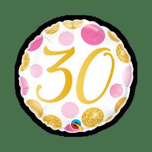30 Pink and Gold Dots Balloon