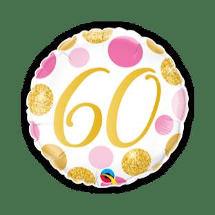 60 Pink and Gold Dots Balloon
