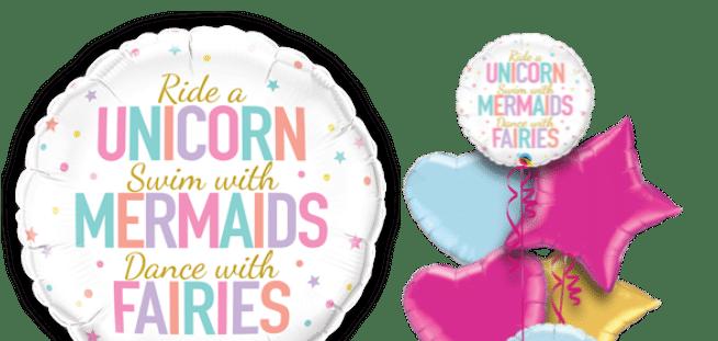 Unicorn Mermaid Fairies Messages Balloon
