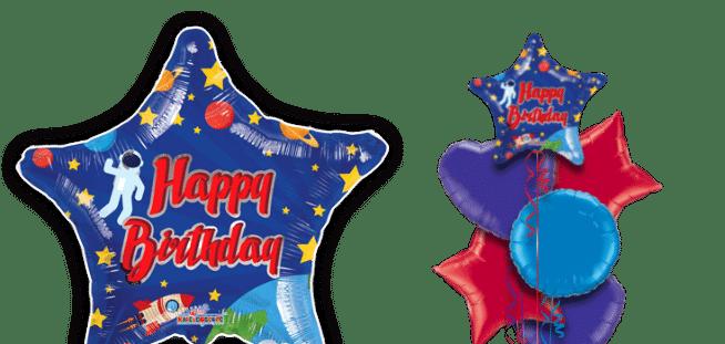 Birthday Spaceman Star Balloon