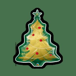 Christmas Tree Brushed Gold Balloon