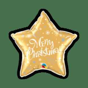 Merry Christmas Festive Gold Star Balloon
