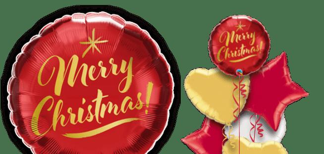 Christmas Gold Script Red Balloon