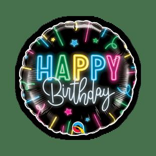 Happy Birthday Neon Glow Balloon