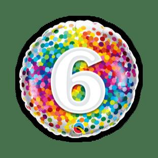 6 Rainbow Confetti Balloon