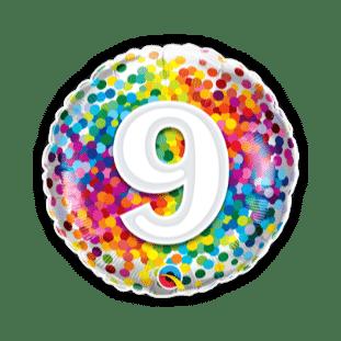 9 Rainbow Confetti Balloon