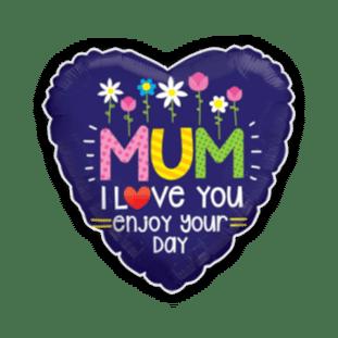 Mum Enjoy Your Day Heart Balloon