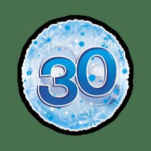 Jumbo Blue Streamers 30th Birthday Balloon