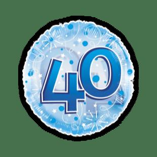 Jumbo Blue Streamers 40th Birthday Balloon