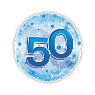 Jumbo Blue Streamers 50th Birthday Balloon