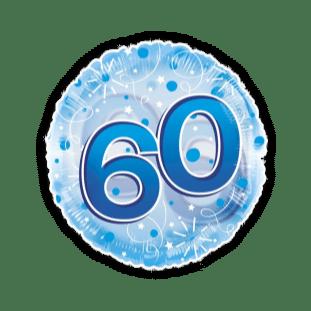 Jumbo Blue Streamers 60th Birthday Balloon