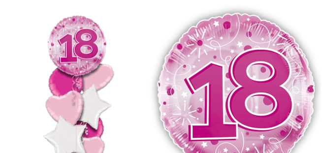 Jumbo Pink Streamers 18th Birthday Balloon