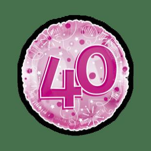 Jumbo Pink Streamers 40th Birthday Balloon