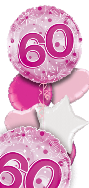 Jumbo Pink Streamers 60th Birthday Balloon