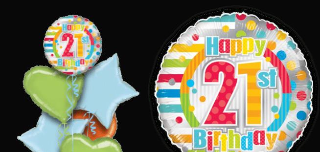 Colourful 21st Birthday Balloon