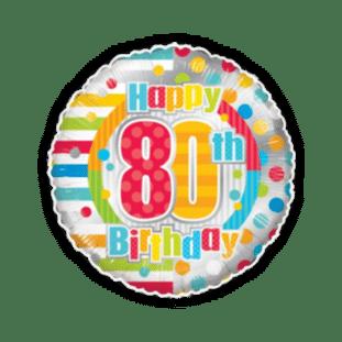 Colourful 80th Birthday Balloon