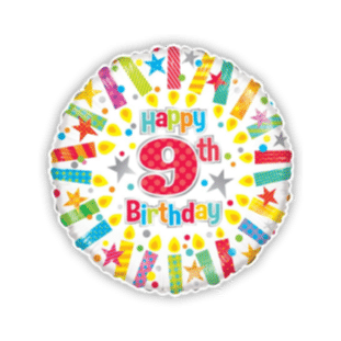 Colourful 9th Birthday Balloon
