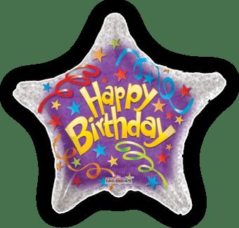 Happy Birthday Streamers Star Balloon