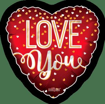 Love You Confetti Hearts Balloon