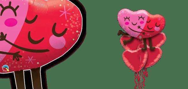 Hugging Smiley Hearts Balloon