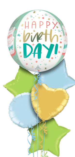 Happy Birthday Pastel Orbz Balloon