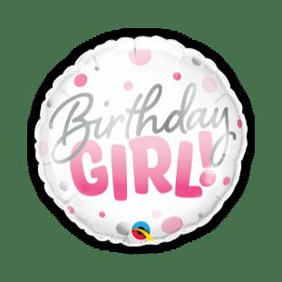 Birthday Girl Pink Spots Balloon
