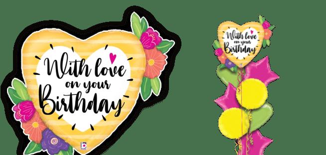 With Love On Birthday Big Heart Balloon