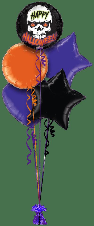 Fire Eyes Skull Happy Halloween Balloon Bunch