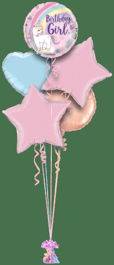 Birthday Girl Unicorn Rainbow Balloon Bunch