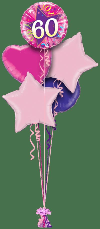 60th Pink Star Balloon Bunch