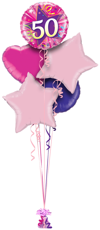50th Pink Star Balloon Bunch