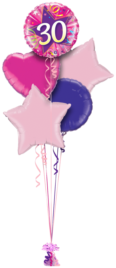 30th Pink Star Balloon Bunch