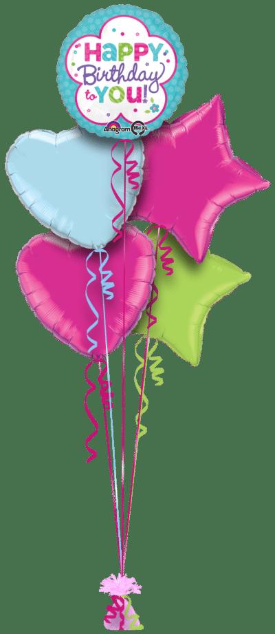 Birthday Flower Shape Balloon Bunch