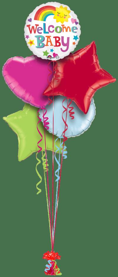 Welcome Baby Sunshine Balloon Bunch