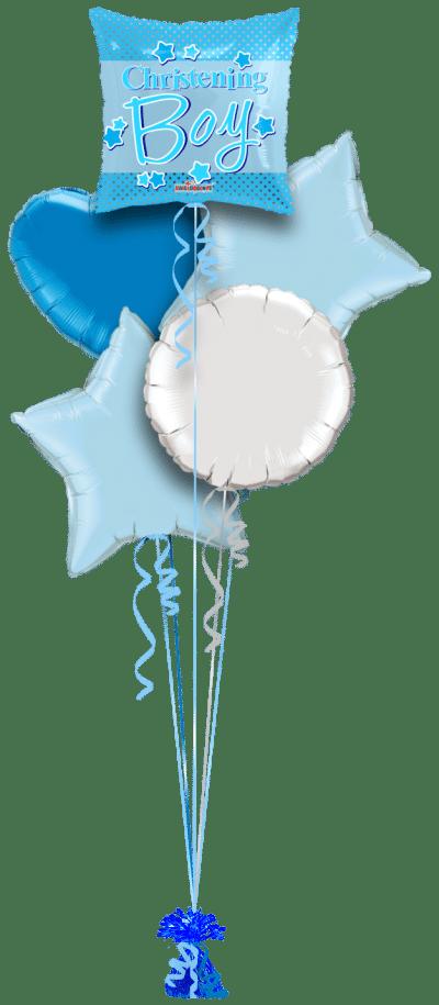 Christening Boy Blue Stars Square Balloon Bunch
