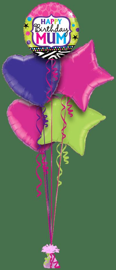 Birthday Mum Bright Balloon Bunch