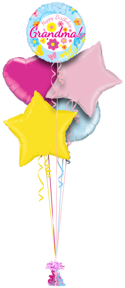 Happy Birthday Grandma Blue Floral Balloon Bunch