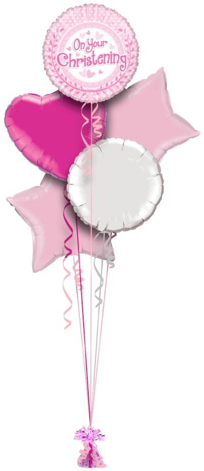 On Your Christening Pink Dots Balloon Bunch