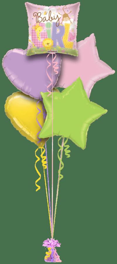 Baby Girl Animals Balloon Bunch