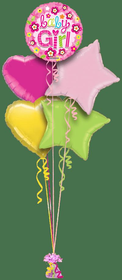 Baby Girls Stars Balloon Bunch