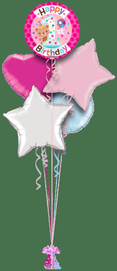 Cute 1st Birthday Girl Balloon Bunch
