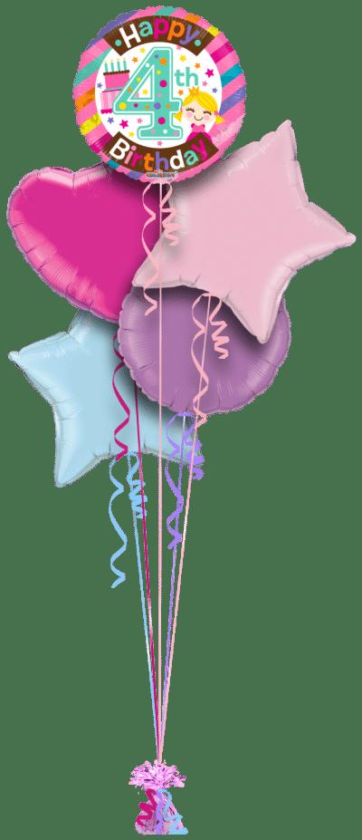4th Birthday Girl Balloon Bunch