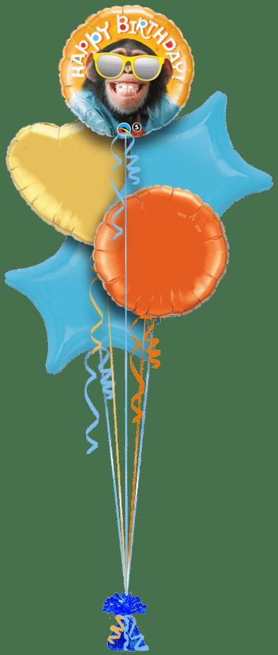 Chimp Smiling Birthday Balloon Bunch