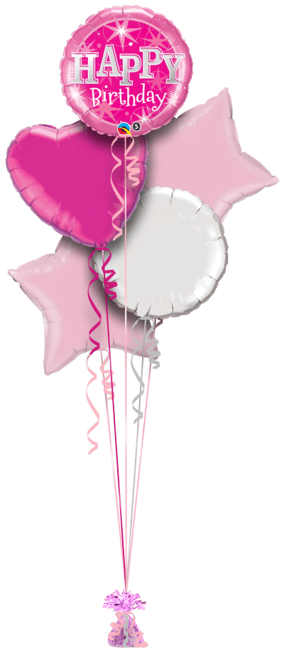 Birthday Pink Bright Stars Balloon Bunch