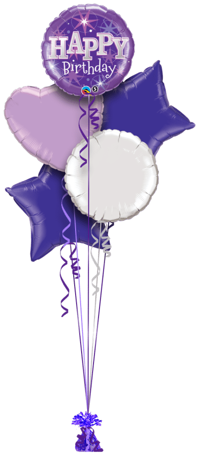 Birthday Bright Purple Balloon Bunch